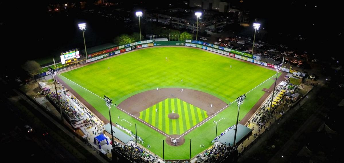 The baseball field at night uses LED lighting