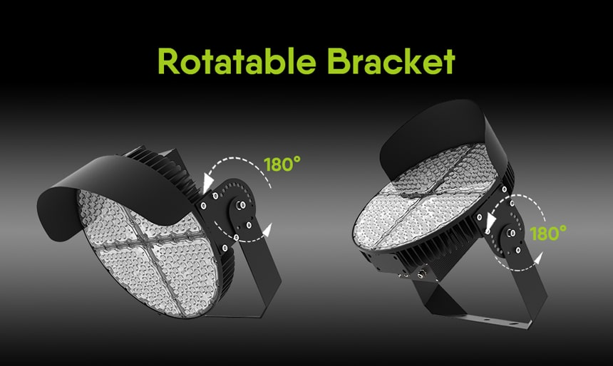 two round slim led sport lights bracket rotatable 180 degree
