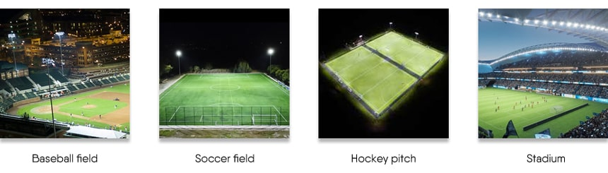 led sports lights application for baseball field, soccer field, hockey pitch, stadium