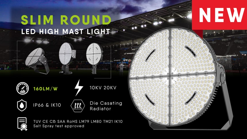 Introduce the 1200w round led stadium lights features