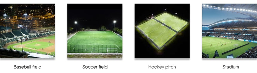 led stadium lights application for baseball field, soccer field, hockey pitch, stadium