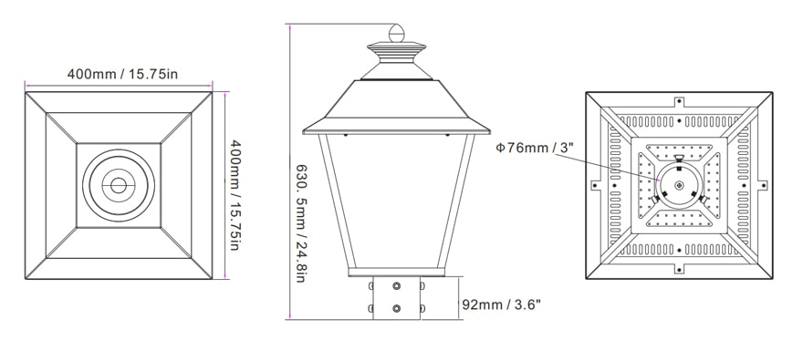 pro led post top light 50w size