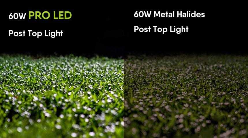 60w pro led post top lighting vs 60W Metal Halides Post Top Lighting
