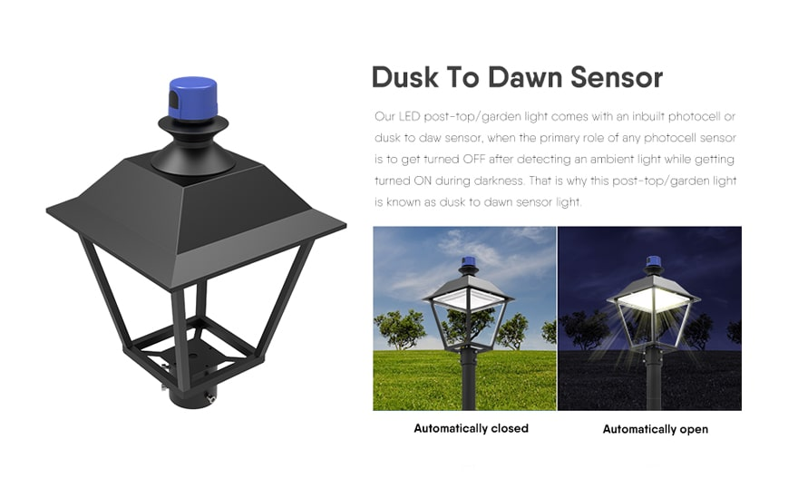 accessoricy of pro led post top light Dusk To Dawn Sensor
