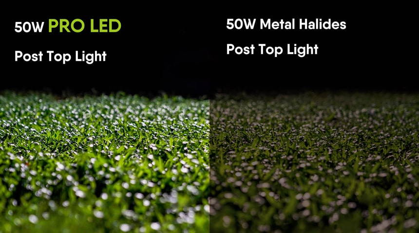 50w pro led garden landscape lighting vs 50W Metal Halides garden landscape Lighting