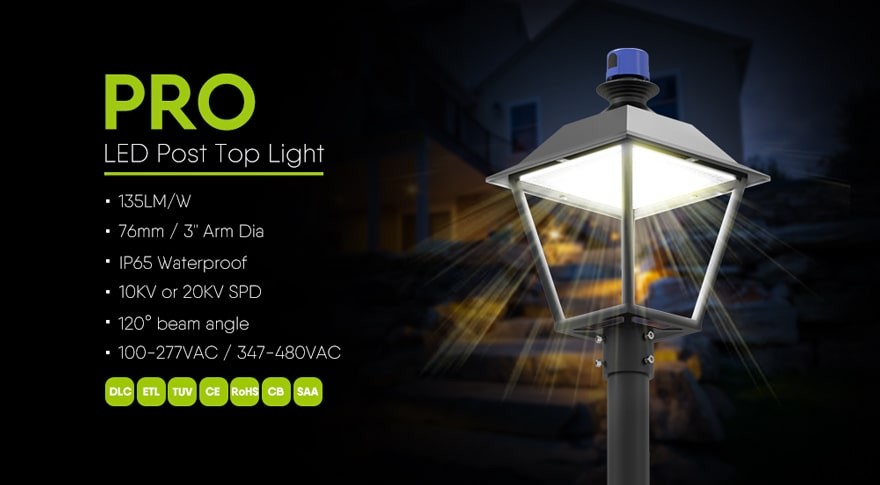 40W Urbanscape Street Top Light - DLC TUV-CE Outdoor Waterproof Town and Country Decorative Top Light