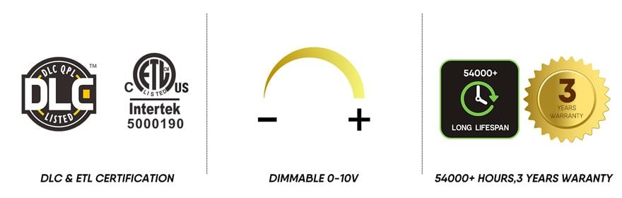 LED Grow Light 300W dimmable, certification,lifespan,warranty