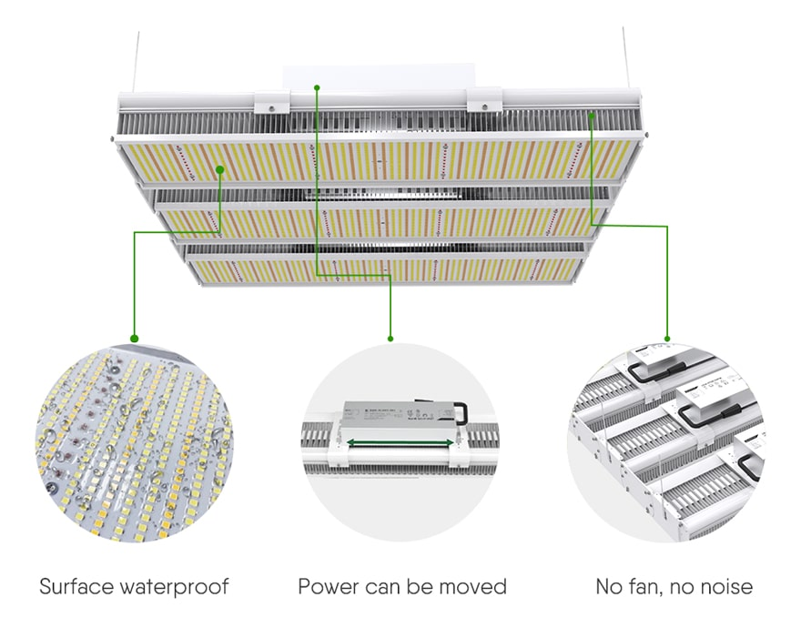Linear 900W LED Grow Light structural features