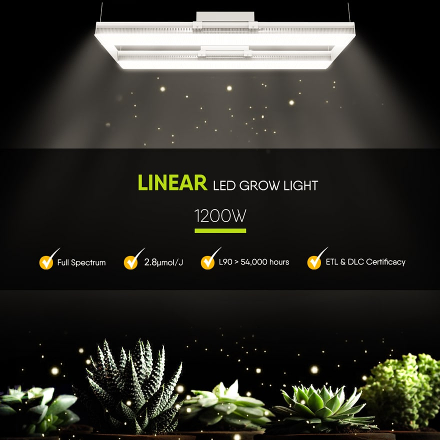 1200 Watt Linear LED Grow Light - Full spectrum Plant Lighting for cannabis, veg and flower
