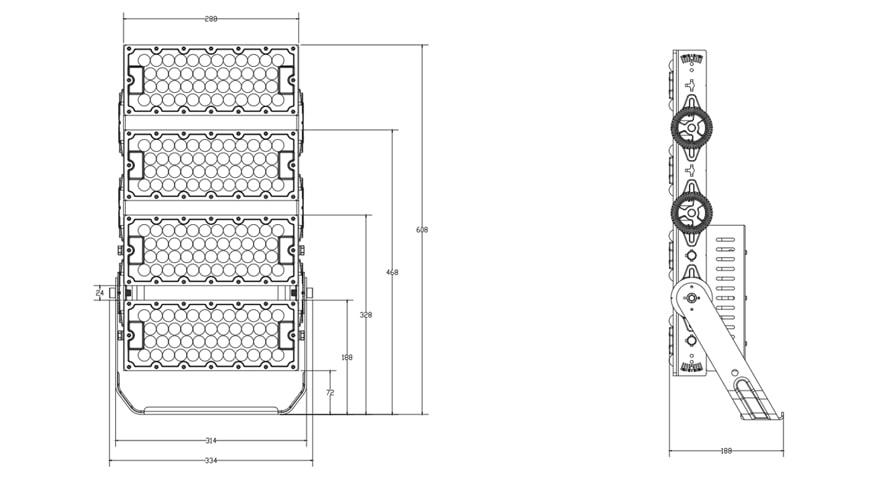 400W 480W Light Tower Light Fixtures size