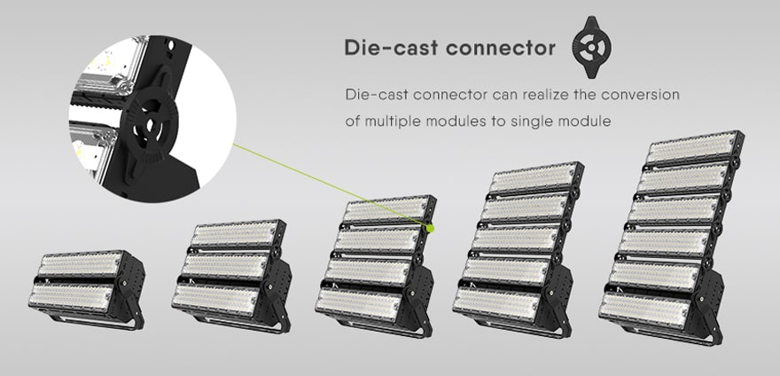 slim pro led stadium light can realize the conversion of multiple modules to single module