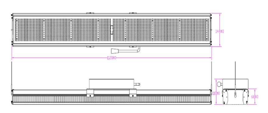 Linear 600W LED grow light size