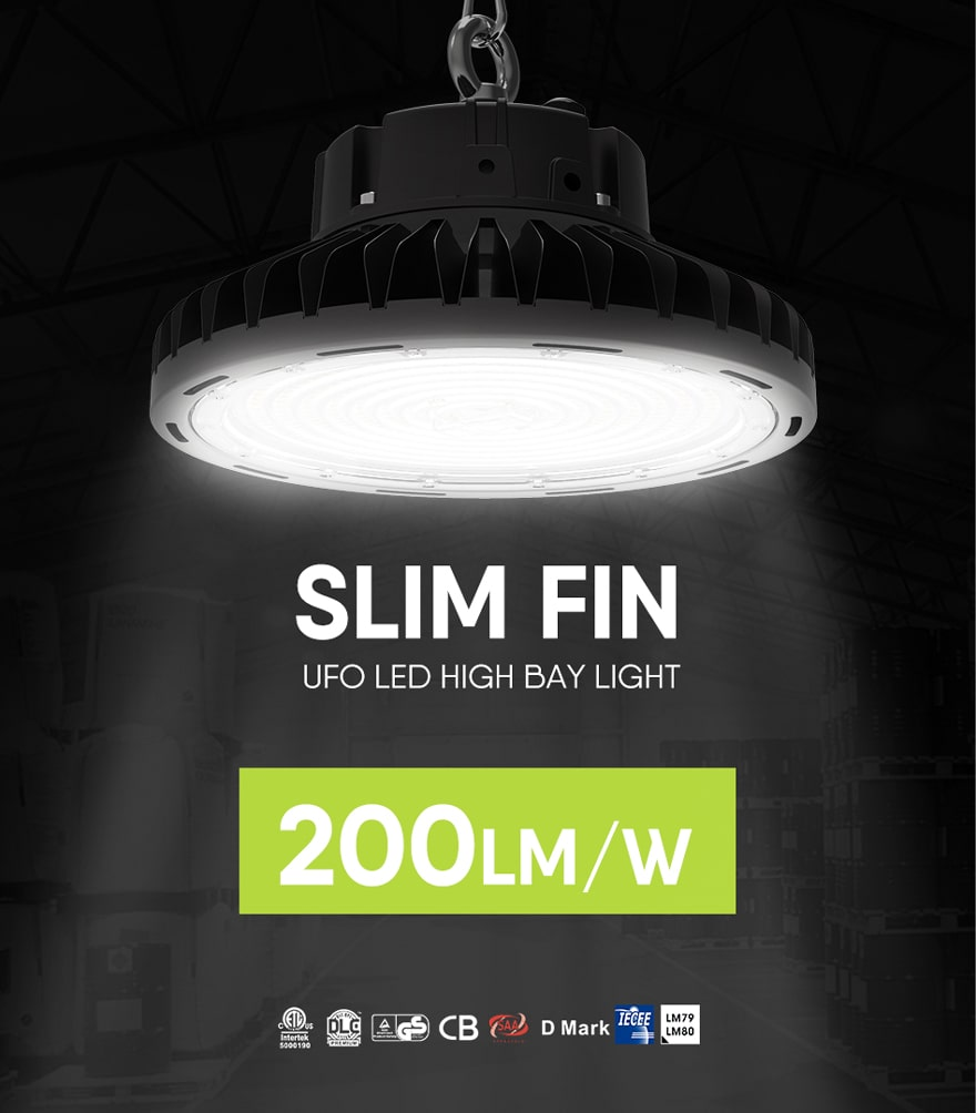 150w slim folding aluminum fin ufo led high bay light