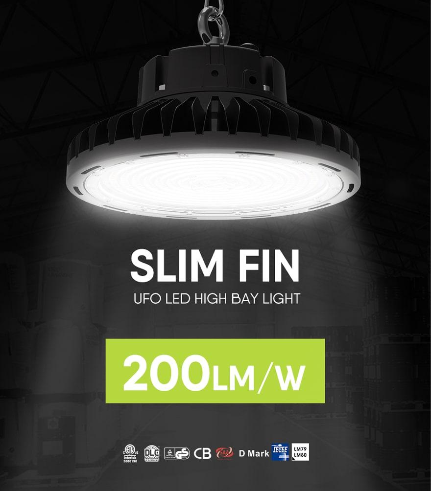 200w slim fin ufo led high bay light