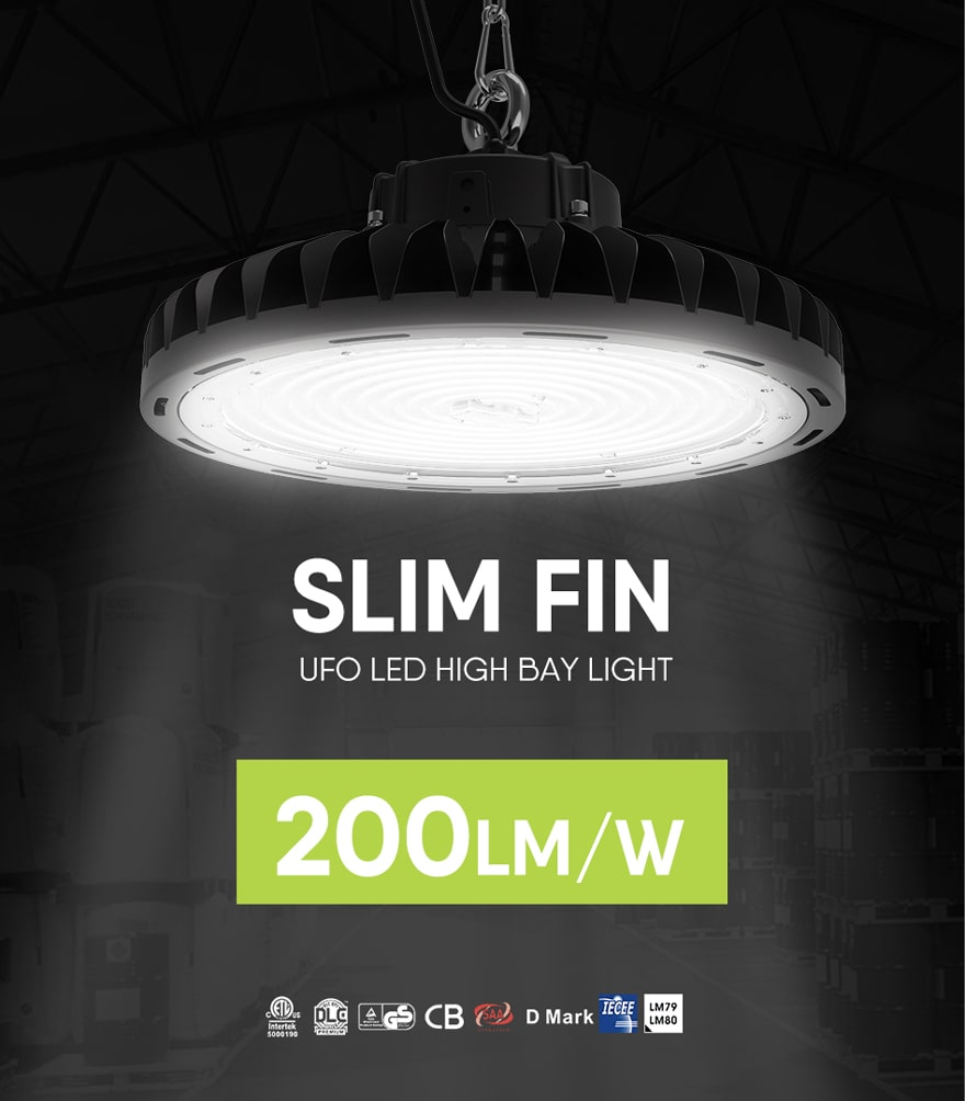 240W Dimmable Slim Fin UFO LED High Bay Light