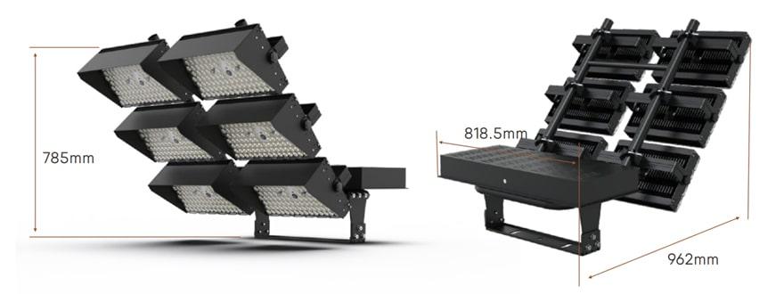 1440w dragonfly max led stadium light fixtures size