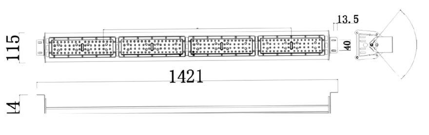 240W LED Linear High Bay Light size