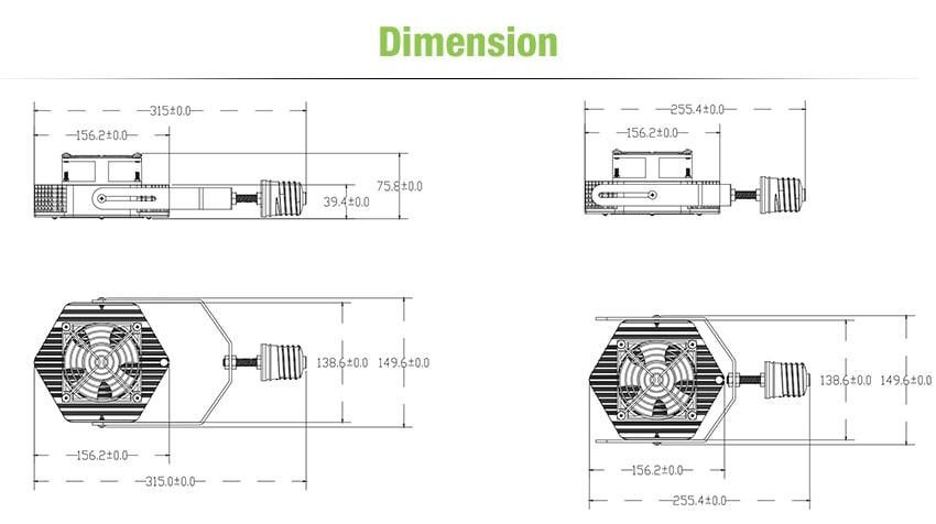 150W LED Retrofit Kits size