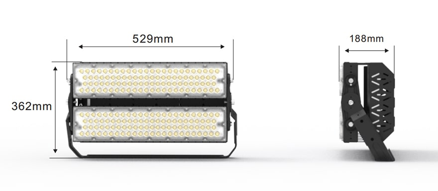 400W Slim ProX led stadium light size