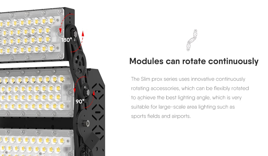 300W Slim ProX LED flood sports Light Modules can rotate continuously