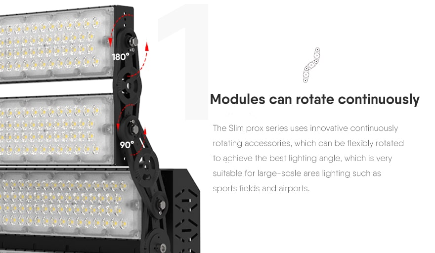 960W Slim ProX led sports light fixture Modules can rotate continuously