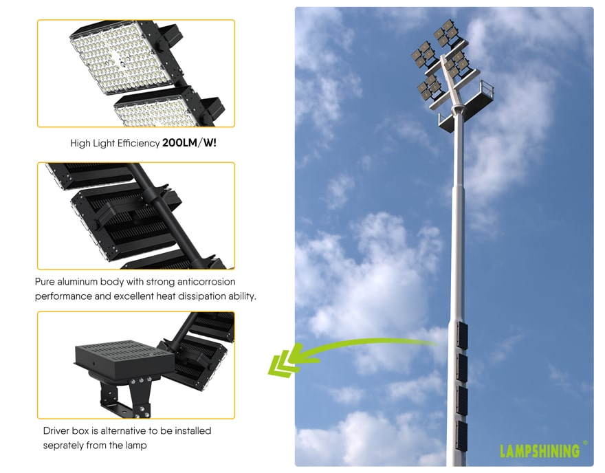 800W Dragonfly Max LED High Mast Light features