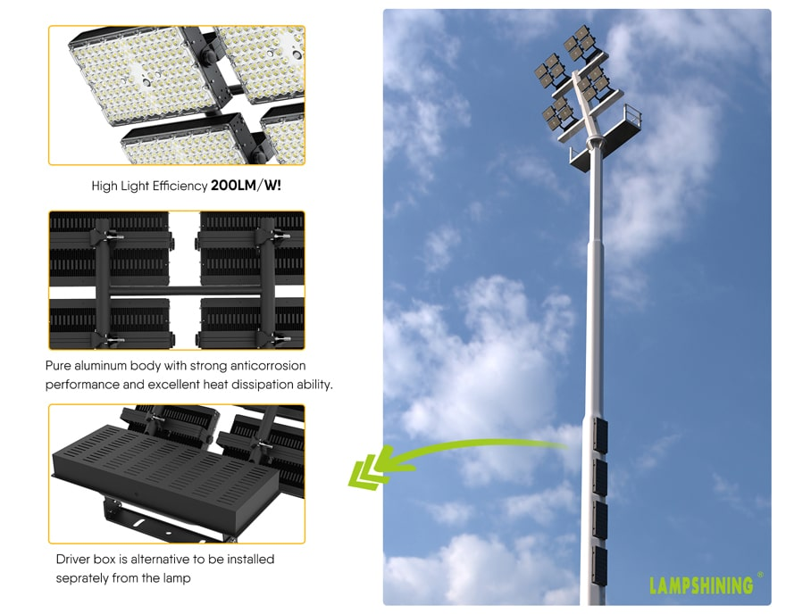600w dragonfly max led area high mast light features