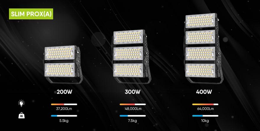 Slim prox led modular flood light of different wattage