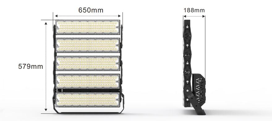 1200W Slim prox led high pole light size