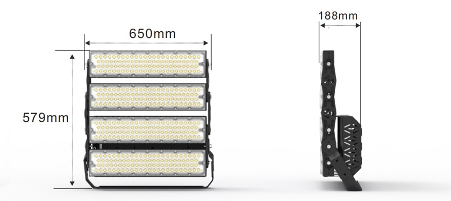 960W Slim ProX led sports light fixture size