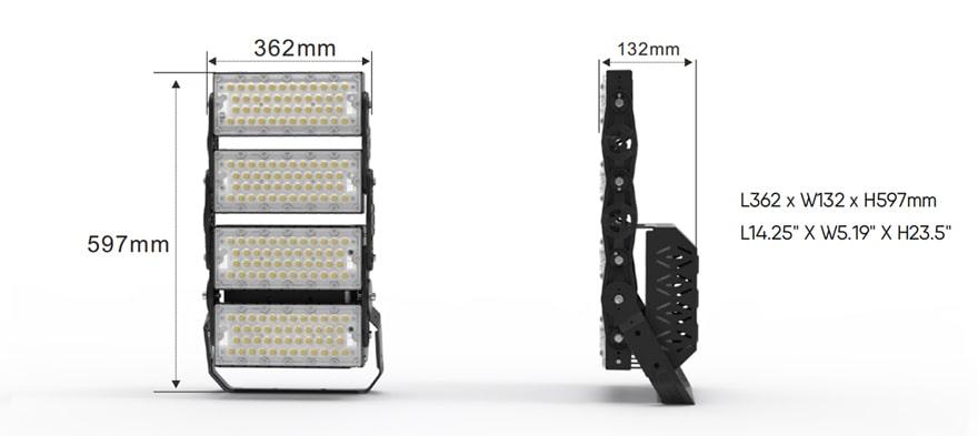 400W Slim ProX LED Flood Light size