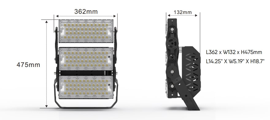 300W Slim ProX LED flood sports Light size