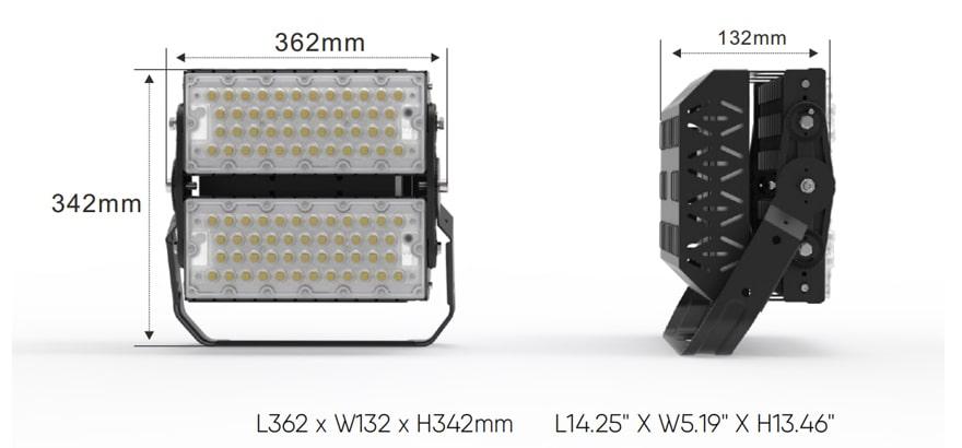 Slim ProX 200W IP66 LED Modular Flood Light size