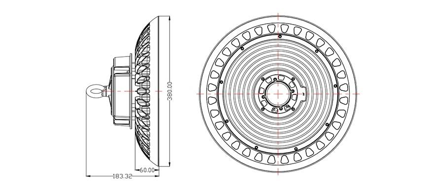 Size marking of 200W Intergrated Sensor UFO LED High Bay Light