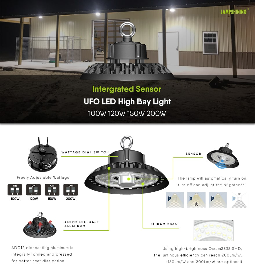Features of 200W Intergrated Sensor UFO LED High Bay Light