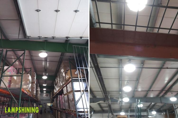 E26 120w LED Corn Light installed in high bay light for warehouse