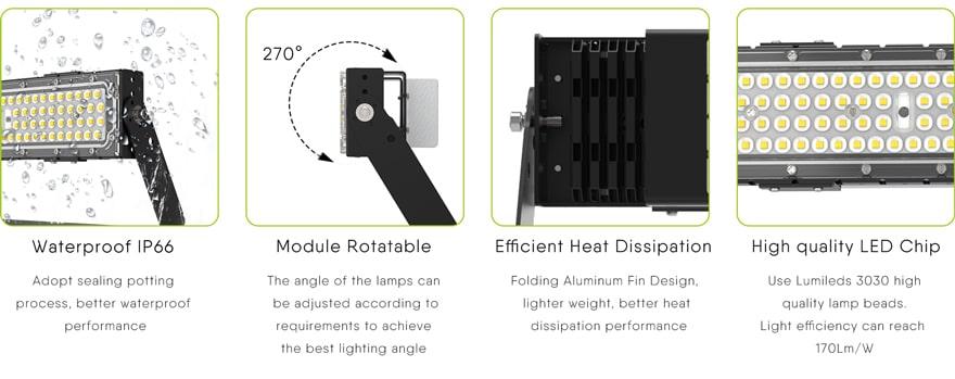 Four characteristics of the 50w slim proe led area flood light