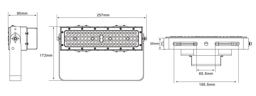 50W Slim ProE LED Area Flood Light size