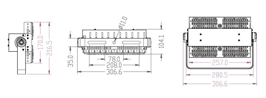 100 Watt LED Area Light size