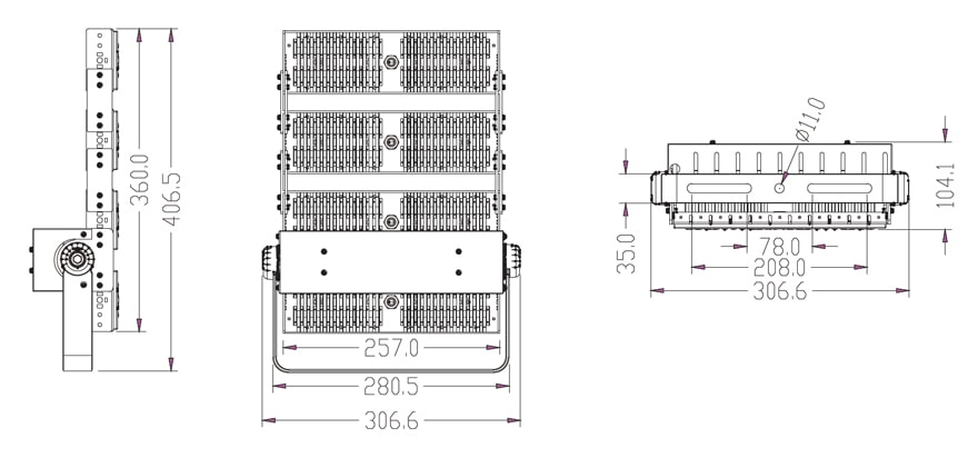 200w LED flood Light size
