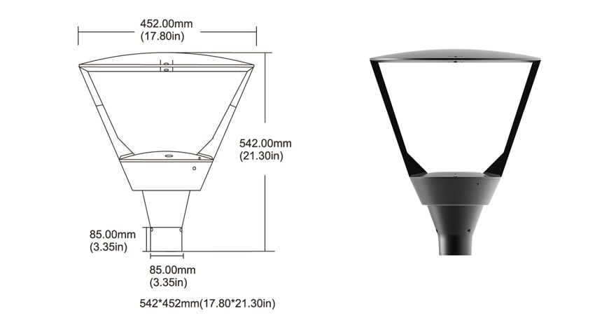 90W Plus LED Post Top Light size