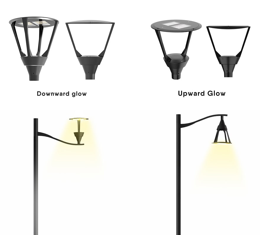 Optional led garden light glows downwards and upwards