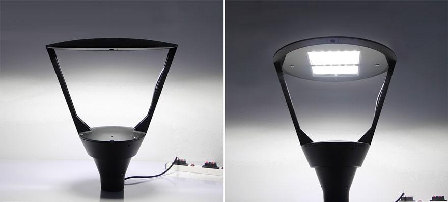 Plus LED Post Top Light Fixture lights up
