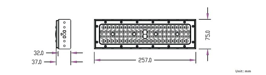 50W Slim ProE LED Module Light size