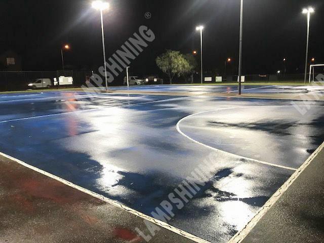 led flood light lit up netball courts