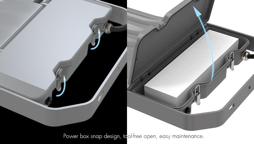 NEMO EKO 100W LED floodlight Power box snap design, teolfree open, easy maintenance