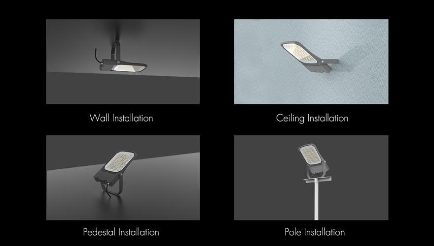 Nemo EKO 100W LED Flood light Wall,Ceiling,Pedestal,Pole Installation method