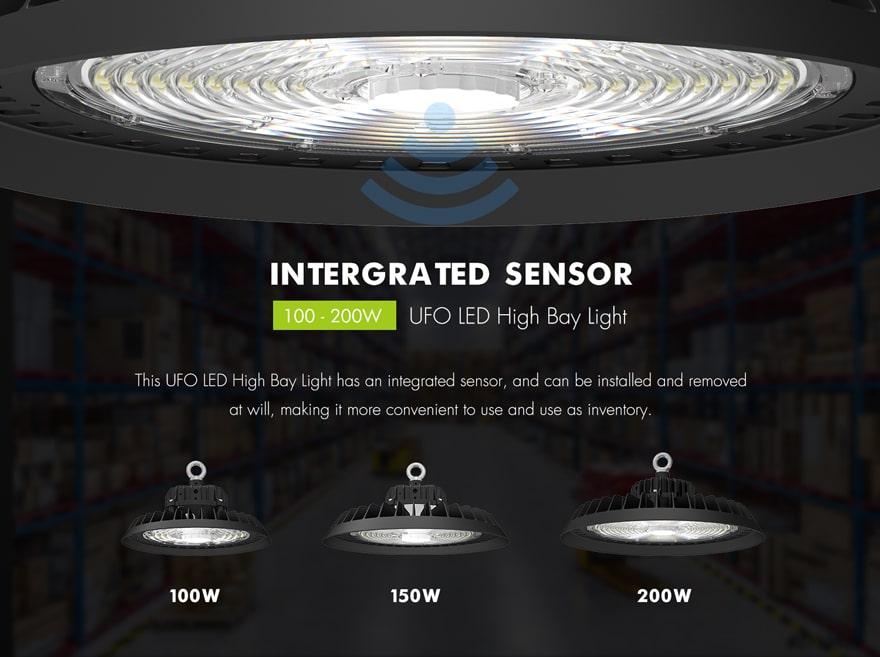 Intergrated Sensor 200W UFO LED High Bay Light