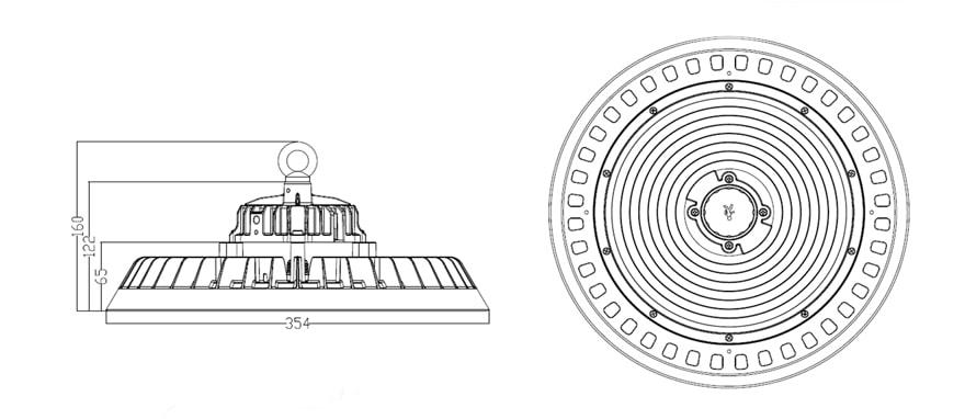 Intergrated Sensor 200W UFO LED High Mast Light size