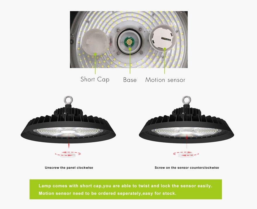 200W UFO LED High Mast Light motion sensor installation